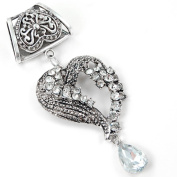 Scarf Jewellery - Silver Bling-Bling Heart Scarf Pendant