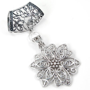 Scarf Jewellery - Antique Silver Filigree Flower Scarf Pendant