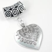 Scarf Jewellery - Antique Silver Tibetan Heart Scarf Pendant