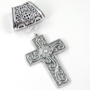 Scarf Jewellery - Antique Silver Etched Cross with Crystal Accent Scarf Pendant