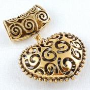 Scarf Jewellery - Antique Gold Filigree Heart Scarf Pendant