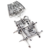 Scarf Jewellery - Antique Silver Modern Art Scarf Pendant