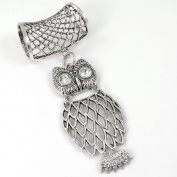 Scarf Jewellery - Antique Silver Owl with Crystal Eyes Scarf Pendant