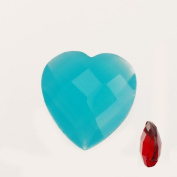 12x12.5mm Blue Double-sided Faceted Heart Shape Imitation Semi-precious Gemstone-4.6mm Thickness-20pcs