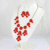 red bubble bib necklace set,statement bubble necklace