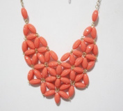 Dark red fan bubble bib necklace,statement bubble necklace,bubble jewellery