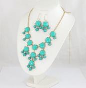 Turquoise bubble bib necklace earring set,statement bubble jewellery