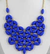 WIIPU blue fan bubble bib necklace,statement bubble necklace,bubble jewellery