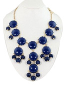 smooth dark blue bubble bib necklace,statement bubble necklace
