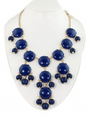 smooth dark blue bubble bib necklace,statement bubble necklace