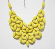 WIIPU yellow fan bubble bib necklace,statement bubble necklace,bubble jewellery