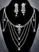 Crystal Rhinestone Necklace Chain and Earring Set, Crystal/Silver NEC-2041