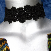 Black Floral Curl Venice Lace Choker Necklace -- Size Large