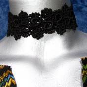 Black Floral Curl Venice Lace Choker Necklace -- Size Large
