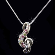 Rhinestone Treble Clef Pendant Necklace, Crystal/Pink/Blue/Green, NEC-2141