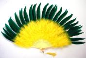 Marabou Feather Fan - Yellow w/ Kelly Green Pheasant 60cm x 36cm