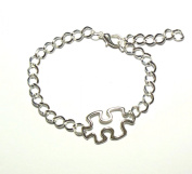 Puzzle Piece Autism Aspergers Awareness Silver Bracelet IN GIFT BOX
