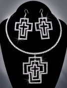 Bride Crystal Rhinestone Necklace Chain and Earring Set NEC-2015