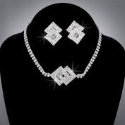 Bride Crystal Rhinestone Choker and Earring Set, CHO-5001