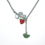 Bird on Branch Necklace with Red Glass Heart Love Charm Silver 60cm IN GIFT BOX