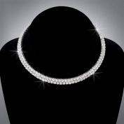 Bride Crystal Rhinestone 2-Row Choker, CHO-5009
