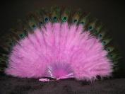 Marabou Feather Fan w/ Peacock - LILAC 60cm x 36cm