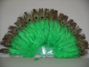 Marabou Feather Fan w/ Peacock - KELLY GREEN 60cm x 36cm