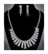 Crystal Rhinestone Necklace Chain and Earring Set, Crystal/Silver NEC-2013