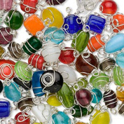 50 Wire Wrapped Glass Beads Handmade Silver Plated Mixed Shape & Colour 6x4mm-16x12mm Package of 50 Beads