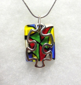 Puzzle Piece Autism Necklace Aspergers Awareness Lampwork Glass Silver Chain IN GIFT BOX