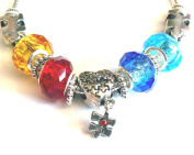 Autism Awareness Bracelet Aspergers Puzzle Piece Beads Silver Chain IN GIFT BOX