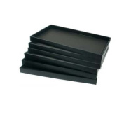 6 Black Faux Leather Jewellery Display Trays Showcase Displays