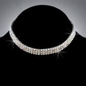 Bride Crystal Rhinestone 3-Row Stretch Choker, CHO-5018B