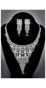 Crystal Rhinestone Necklace Chain and Earring Set, Crystal / Silver, NEC-2046