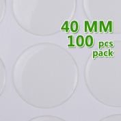 40mm Round Clear Epoxy Domes Resin Cabochon Sticker Thick About 1.3mm - 100pcs/lot