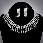 Bride Crystal Rhinestone Choker and Earring Set, CHO-5007