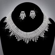 Bride Crystal Rhinestone Choker and Earring Set, CHO-5017