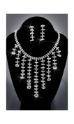 Crystal Rhinestone Necklace Chain and Earring Set, Crystal/Silver NEC-2037