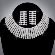 Bride Crystal Rhinestone Choker and Earring Set, CHO-5008