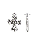 Cross Charms Antiqued Silver Plated Double Sided Sold per pkg of 50