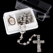 Rose Scented Metal Bead Communion Rosary from Italy