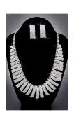 Crystal Rhinestone Necklace Chain and Earring Set, Crystal/Silver NEC-2036