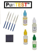 Goldsmith's Accessory Pack - 10k, 14k, 18k, 22k Gold Acids Testing Solutions + Premium Scratch Stone + 5pcs File Test Kit
