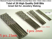 Assorted Pack of 20pcs. 4 Sizes 1mm 1.5mm 2mm 2.5mm Diamond Twist Drill Bit Jewellery Beach Sea Glass Shells Gemstones Lapidary