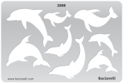Plastic Stencil Template for Graphical Design Drawing Drafting Metal Clay Jewellery Jewellery Making - Dolphins, Sea Creatures, Fish