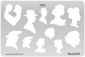 Plastic Stencil Template for Graphical Design Drawing Drafting Metal Clay Jewellery Jewellery Making - Man Woman Face Profile