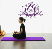 Hausewares Vinyl Decal Lotus Flower With Om Sign Yoga Meditation Wall Art Decor Removable Stylish Sticker Mural Unique Design for Room