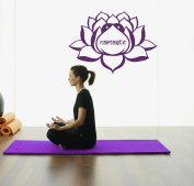 Hausewares Vinyl Decal Lotus Flower With Namaste Word Yoga Meditation Wall Art Decor Removable Stylish Sticker Mural Unique Design for Room