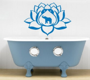 Hausewares Vinyl Decal Lotus Flower With Elephant Yoga Meditation Wall Art Decor Removable Stylish Sticker Mural Unique Design for Room