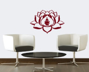 Hausewares Vinyl Decal Lotus Flower With Man in Yoga Pose Meditation Wall Art Decor Removable . Sticker Mural Unique Design for Room
